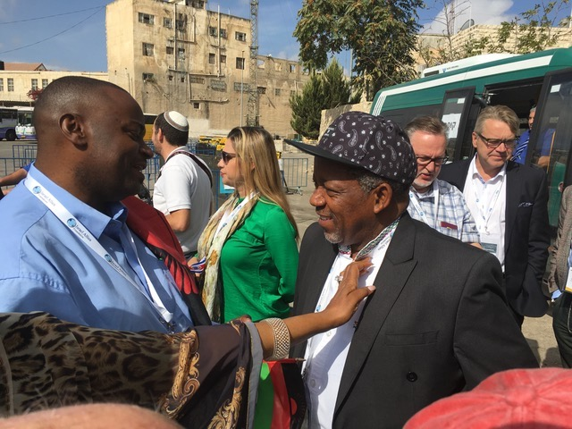 Kenneth Meshoe (right) of the African Christian Democratic Party, on a visit to Hebron this week. Credit: Sam Sokol.