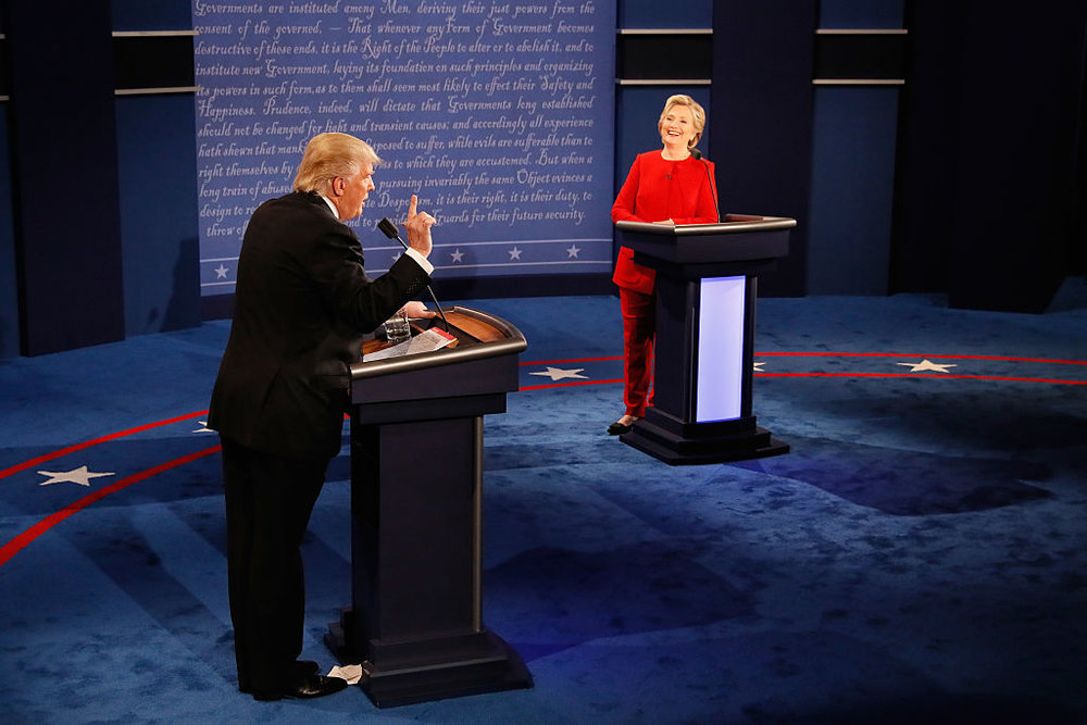 Donald Trump and Hillary Clinton squaring off in the first presidential debate in September. Credit: Getty Images.