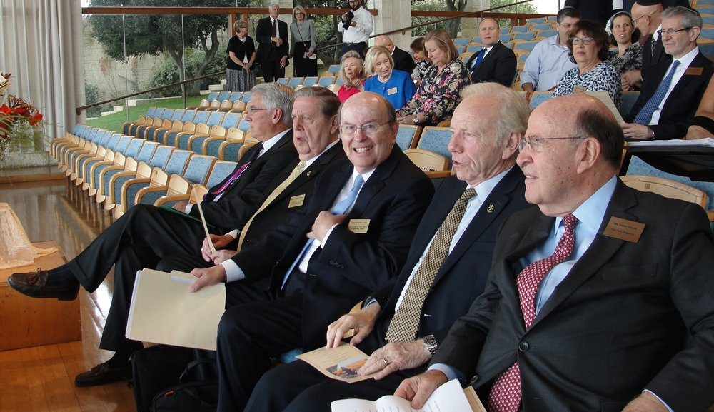 (L-R) Dr. James R. Kearl, assistant to the university president of the Jerusalem Center, Elder Jeffrey R. Holland, Elder Quentin L. Cook, Sen. Joseph Lieberman and former New York Attorney General Bob Abrams. Credit: Judy Lash Balint.