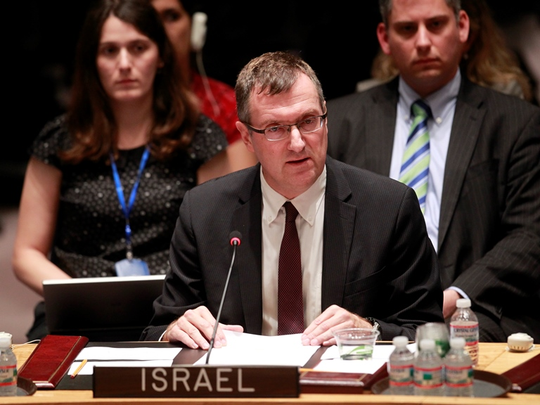 Amb. David Poet, Israel's Deputy Permanent Representative to the U.N., addresses the U.N. Security Council. Credit: U.N. photo/Paulo Filgueiras.