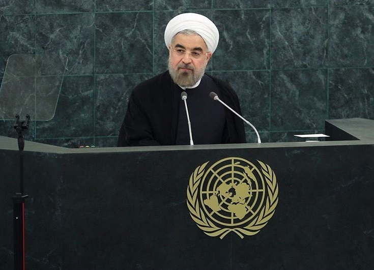 Iranian President Hassan Rouhani addressing the United Nations General Assembly. Credit: Wikimedia Commons.
