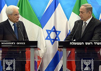 Israeli Prime Minister Benjamin Netanyahu and Italian President Sergio Mattarella. Credit:Haim Zah/GPO.