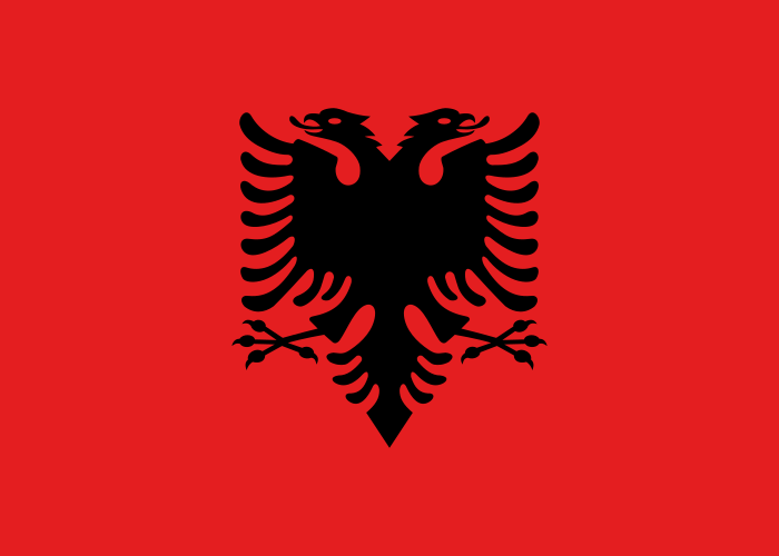 The flag of Albania. Credit: Wikimedia Commons.