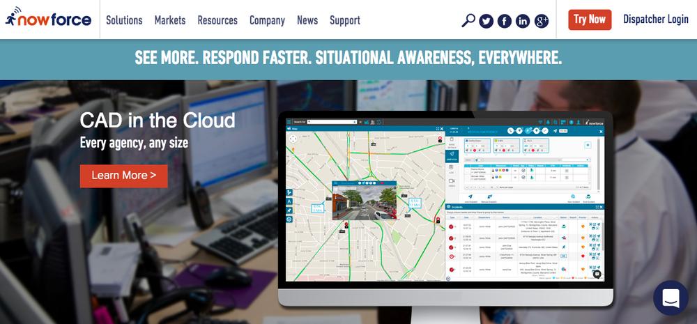 The website of the Israeli-developed NowForce global alert system. Credit: NowForce.