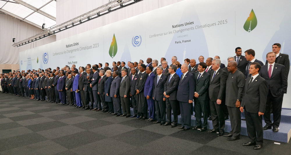 Heads of delegations at the 2015 United Nations Climate Change Conference in Paris. Credit: Wikimedia Commons.