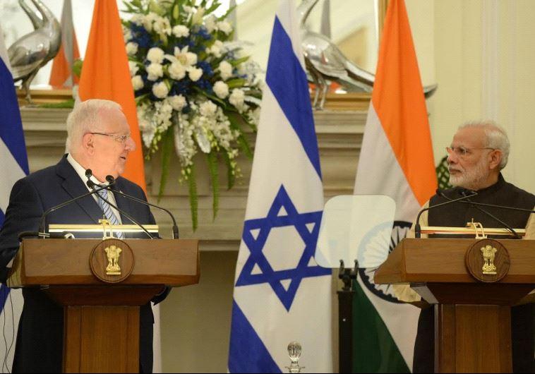 Israeli President Reuven Rivlin meets with Indian Prime Minister Narendra Modi. Credit: Mark Neiman/GPO