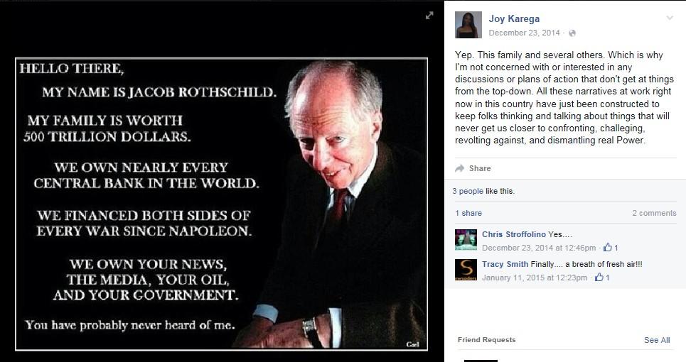 Professor Joy D. Karega's anti-Semitic Facebook post on Jacob Rothschild. Credit: Facebook.