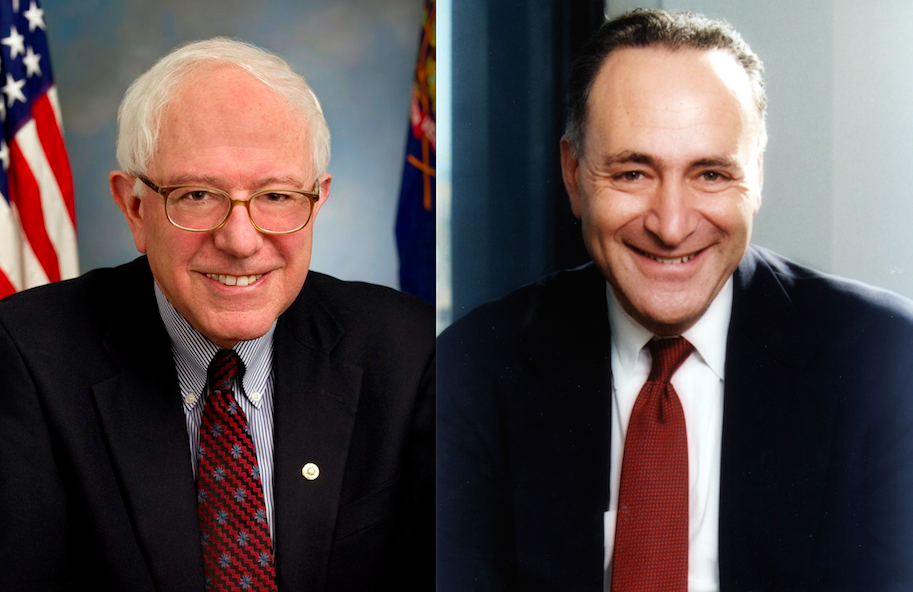 Sens. Bernie Sanders (left) and Chuck Schumer. Credit: U.S. Senate.