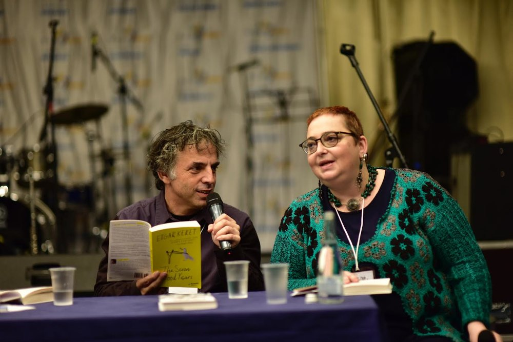 Bestselling Israeli author Etgar Keret (left) speaks at the recent Limmud FSU conference in St. Petersburg, Russia. Credit: Limmud FSU.