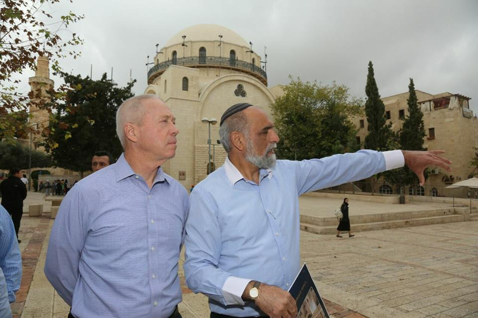 On Wednesday, Israeli Construction Minister Yoav Gallant (left) tours the Jewish Quarter of Jerusalem's Old City. Credit: Yoav Gallant Facebook page.