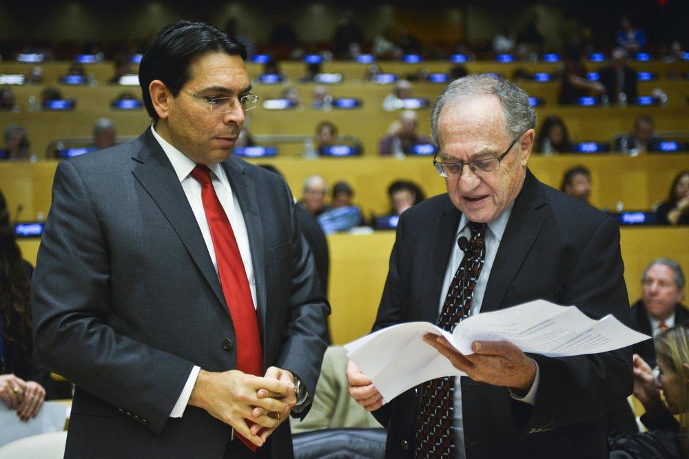 "Israeli Ambassador to the United Nations Danny Danon (left) and retired Harvard Law School professor Alan Dershowitz at the ""Legal Scholars Against BDS"" conference at the U.N. Credit: Harel Rintzler."