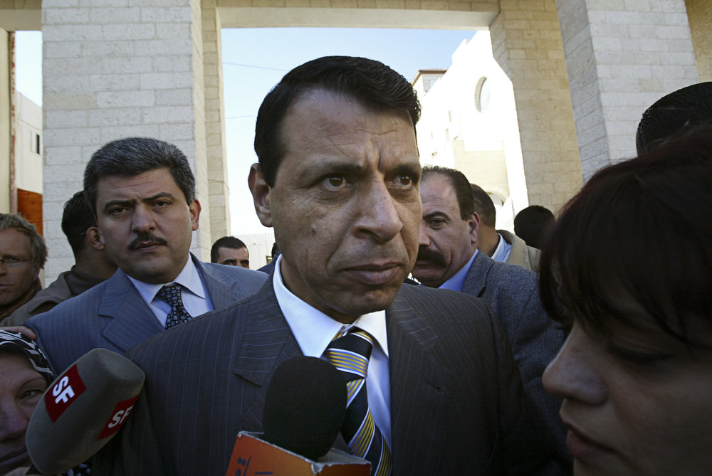 Former Palestinian Fatah party lawmaker Mohammed Dahlan, who is viewed as a potential successor to Palestinian Authority President Mahmoud Abbas, speaks to the media in December 2006. Credit: Michal Fattal/Flash90.
