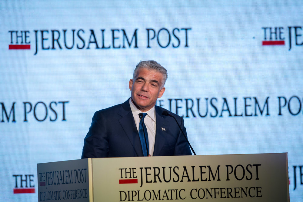 Yair Lapid speaks at the Jerusalem Post Diplomatic Conference at the Waldorf Astoria hotel in Jerusalem Nov. 23. Credit: Miriam Alster/Flash90.