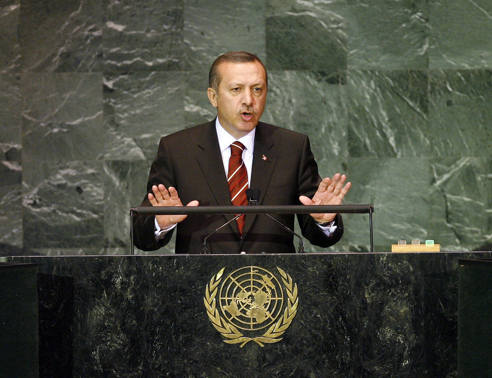 Turkish President Recep Tayyip Erdoğan addresses the United Nations General Assembly in September 2009. Credit: UN Photo/Marco Castro.