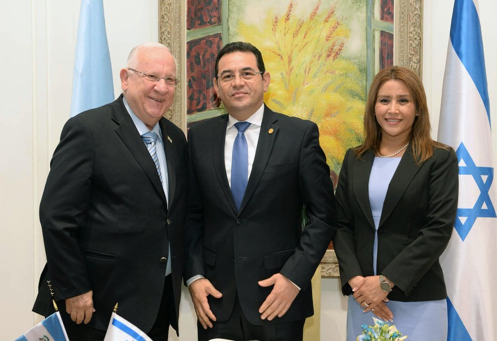 Israeli President Reuven Rivlin (left) meets Guatemalan President Jimmy Morales and his wife, Hilda Patricia Morales. Credit: President Reuven Rivlin via Twitter.