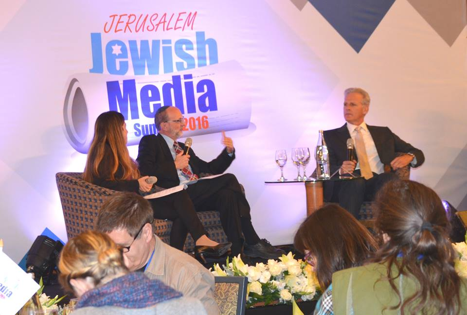 Michael Oren (far right) takes part in a discussion at the Jewish Media Summit in Jerusalem. Credit: Sharon Altshul/rjstreets.com.