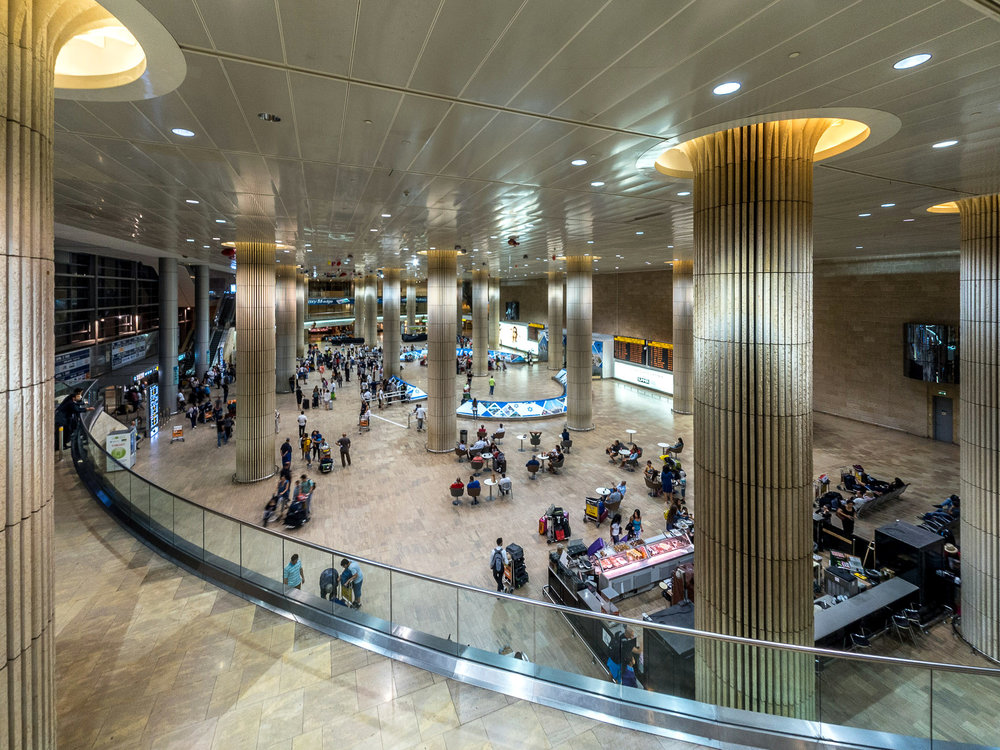 The Terminal 3 arrivals halls at Israel's Ben Gurion International Airport. Credit: George Dement via Wikimedia Commons.