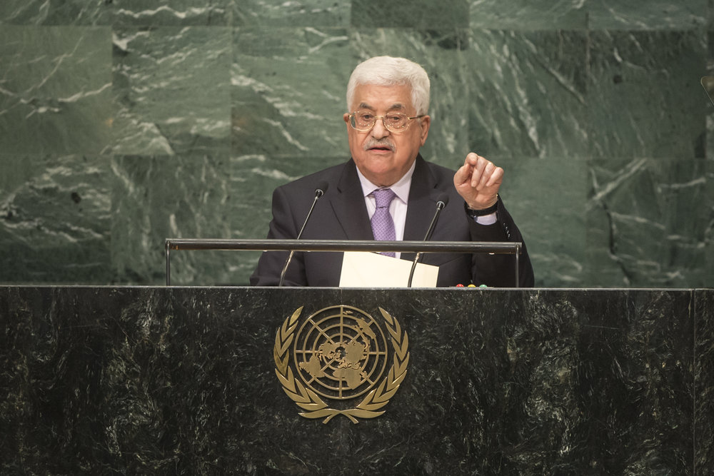 Palestinian Authority President Mahmoud Abbas addresses the United Nations General Assembly Sept. 22, 2016. Credit: UN Photo/Cia Pak.