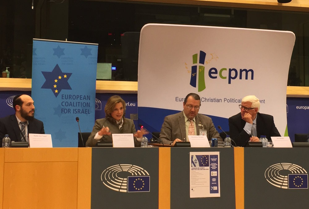 """From left to right, at the Dec. 8 """"Terrorism and Security: What the EU Can Learn from Israel"""" conference in Brussels: Rabbi Avi Tawil, director of the European Jewish Community Center in Brussels; Katharina von Schnurbein, the European Union's coordinator on combating anti-Semitism; Member of the European Parliament (MEP) Branislav Skripek (Slovakia); and MEP Bas Belder (Netherlands). Credit: Orit Arfa."""