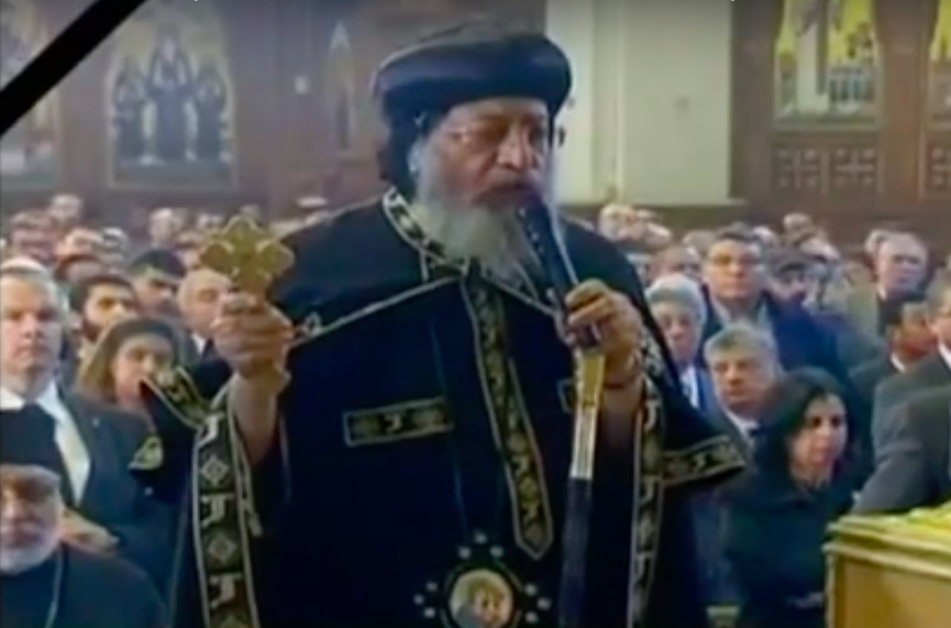 Egyptian Christians, including Coptic Pope Tawadros II, mourn this past weekend's deadly bombing attack in Cairo. Credit: YouTube screenshot.
