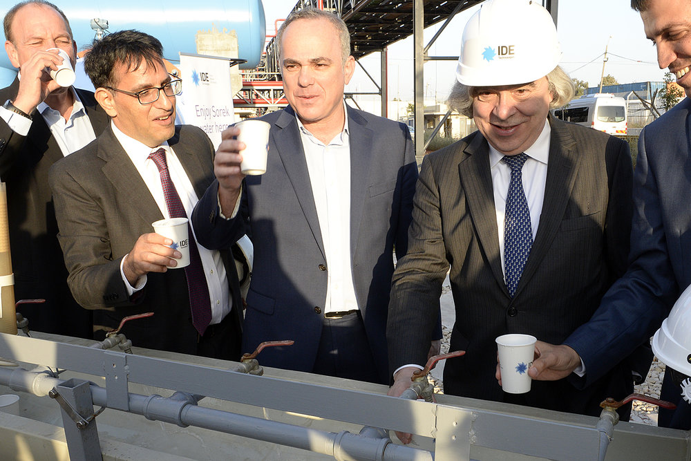 Israeli and American government officials, including U.S. Secretary of Energy Dr. Ernest Moniz (second from right), visit Israel's Sorek water desalination plant in April 2016. Credit: U.S. Embassy Tel Aviv.
