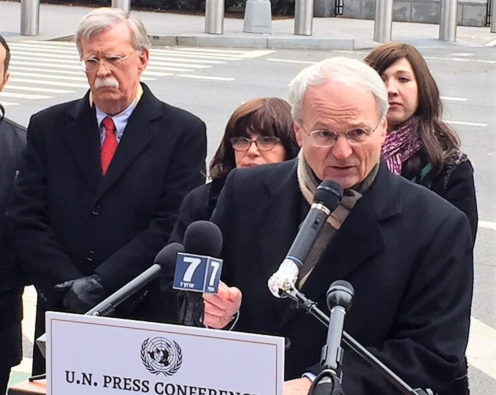 Former U.S. ambassador to the United Nations John Bolton (in back, at left) and Zionist Organization of America (ZOA) President Morton Klein (at podium) appear at a press conference Sunday in New York City to urge President Barack Obama to veto anti-Israel measures at the U.N. Credit: Courtesy of the ZOA.