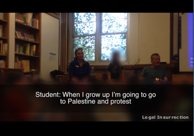 A screenshot of the video showing third-graders in Ithaca, N.Y., reacting to anti-Israel messaging from Palestinian activists. Credit: LegalInsurrection.com.