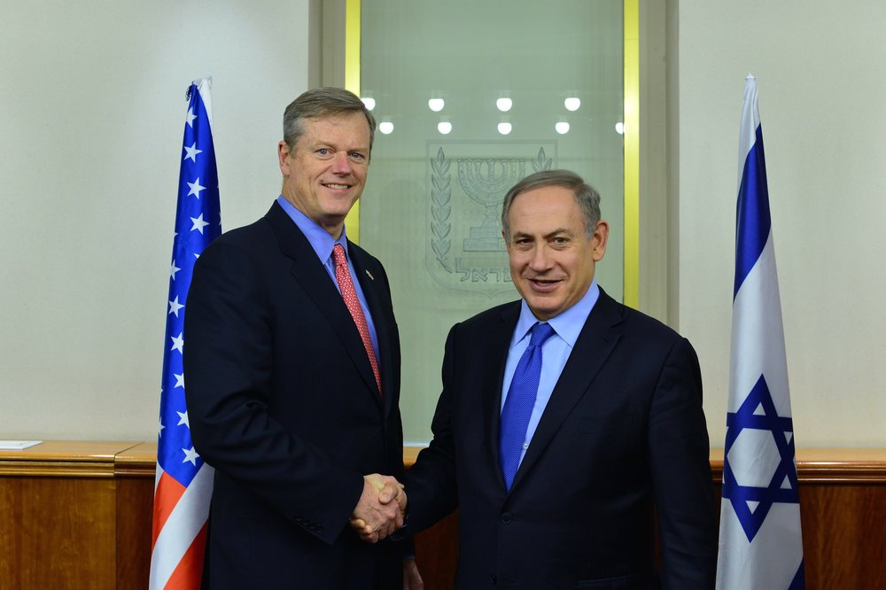 Massachusetts Governor Charlie Baker meets with Israeli Prime Minister Benjamin Netanyahu in Jerusalem Dec. 12. Credit: Office of Governor Baker/Flickr.com.