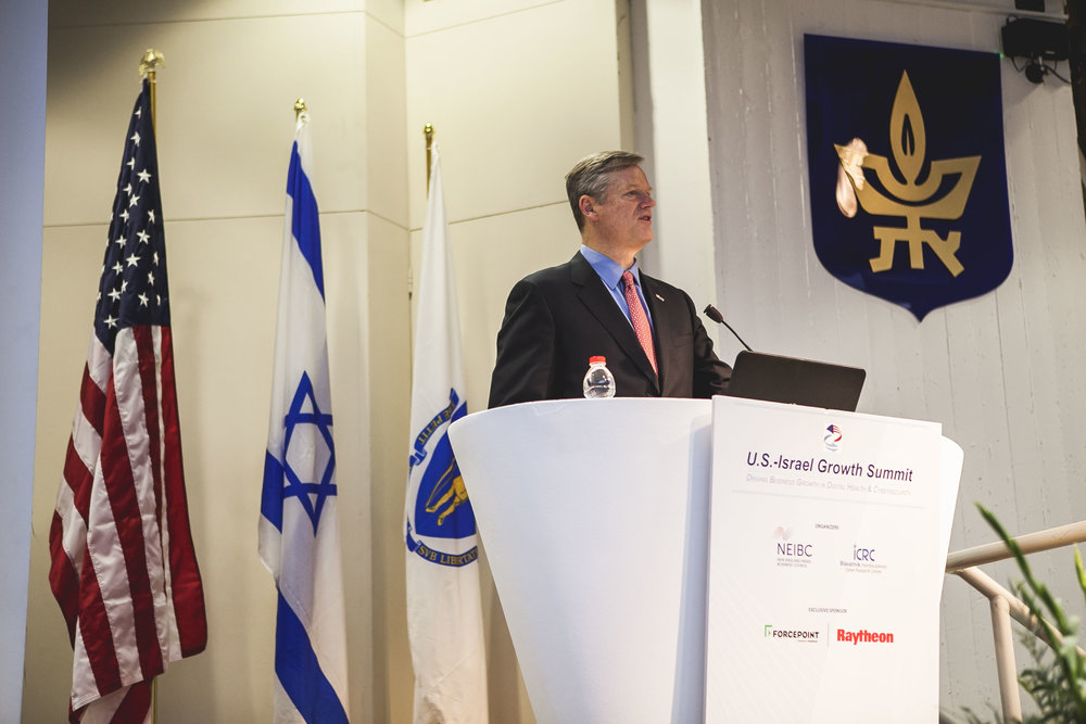 Massachusetts Governor Charlie Baker speaks at the U.S.-Israel Growth Summit Dec. 12, during his gubernatorial administration's Economic Development Mission to Israel. Credit: Office of Governor Baker/Flickr.com.