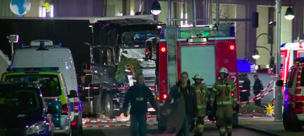 The scene after a tractor-trailer plowed into a Christmas market Monday in central Berlin. Credit: YouTube.