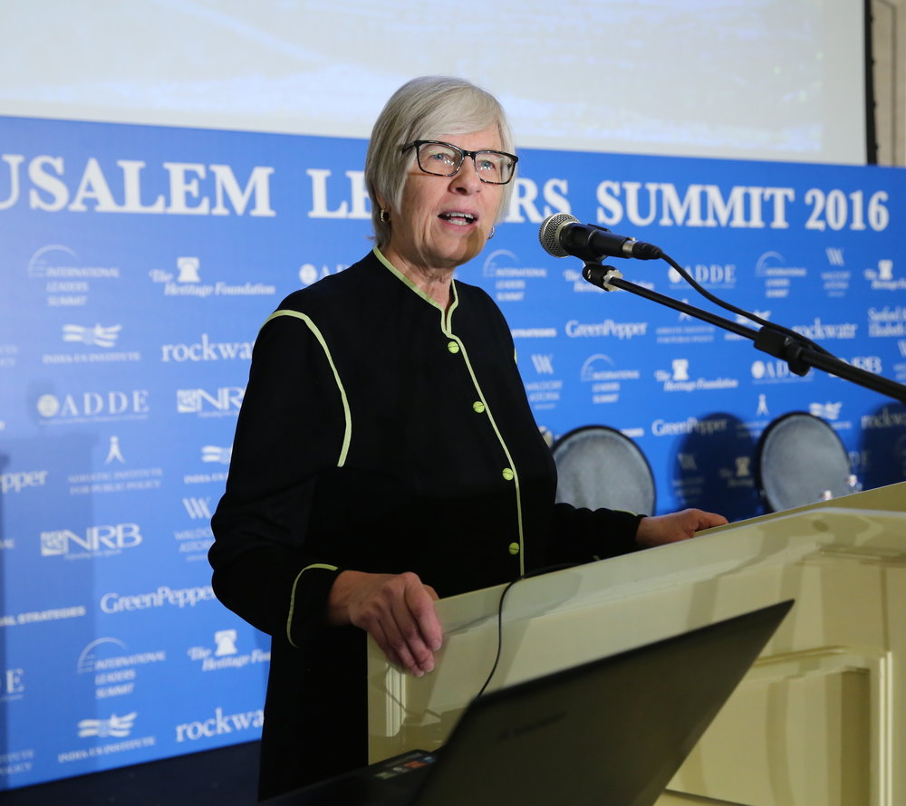 Becky Norton Dunlop, a member of President-elect Donald Trump's transition team and a distinguished fellow at the Washington, D.C.-based Heritage Foundation, speaks at the Dec. 19 Jerusalem Leaders Summit. Credit: Yossi Zamir.