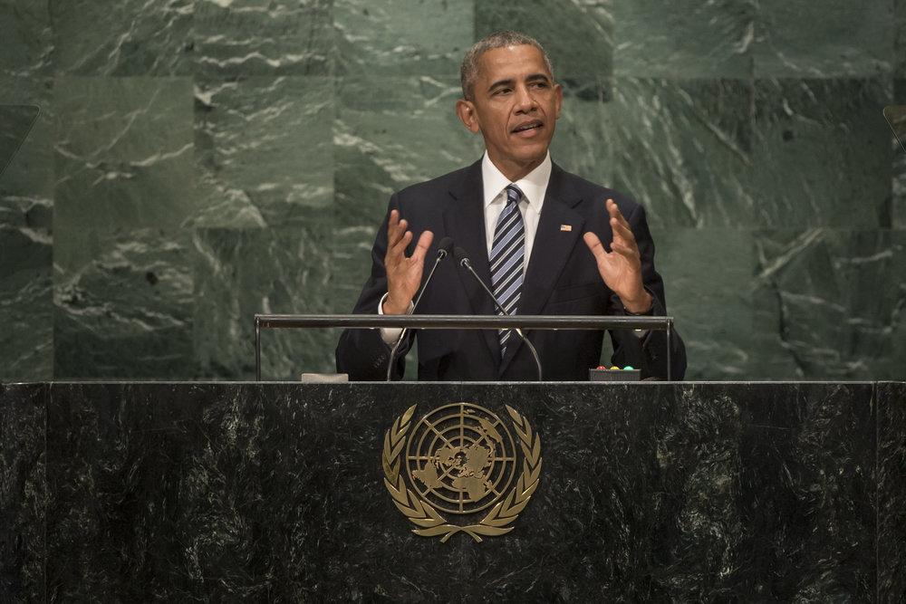 President Barack Obama addresses the United Nations General Assembly Sept. 20, 2016. Credit: UN Photo/Cia Pak.
