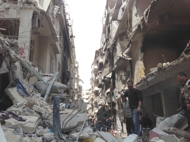 Damage to the Christian quarter of Aleppo, Syria, in January 2016. Credit: Aid to the Church in Need.