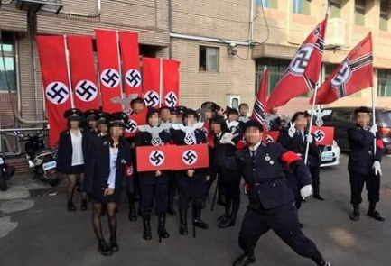 High school students' Nazi-themed display in Taiwan. Credit: Facebook.