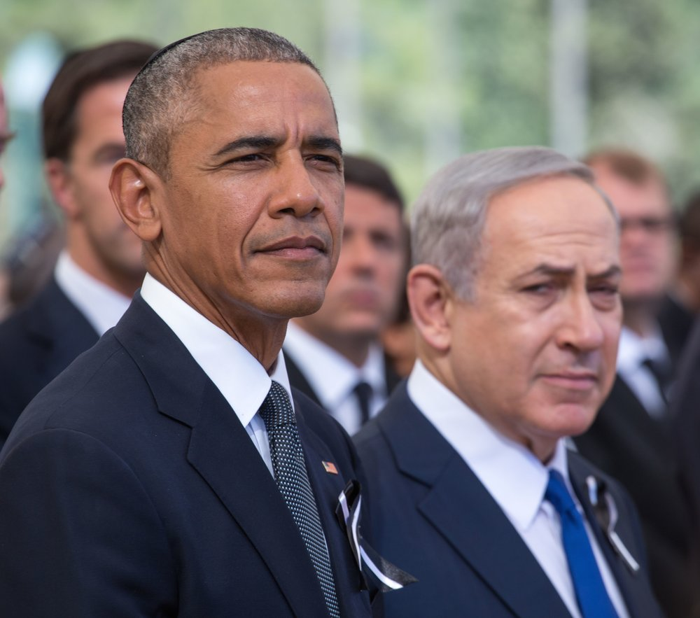 The icy relationship between President Barack Obama (left) and Prime Minister Benjamin Netanyahu—pictured here during September's funeral for Israeli statesman Shimon Peres—grew colder after the Obama administration refused to veto a resolution against Israeli settlements at the United Nations Dec. 23. Credit: Emil Salman/POOL.
