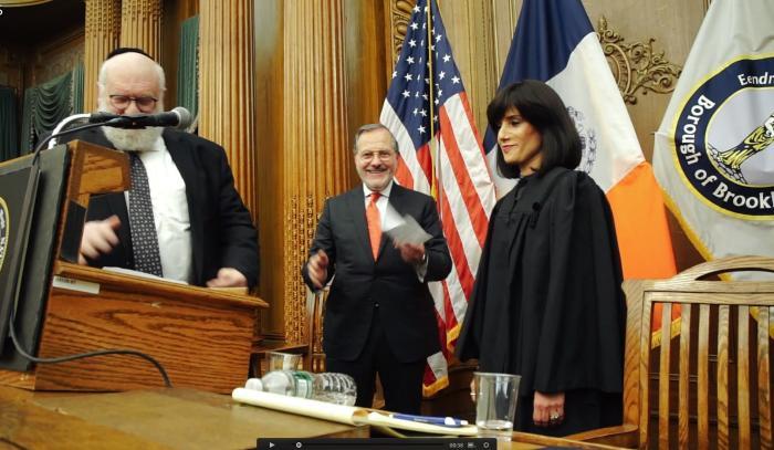 Judge Rachel Freier is sworn into office Dec. 22 in New York. Credit: Stefano Giovannini/VIN news.