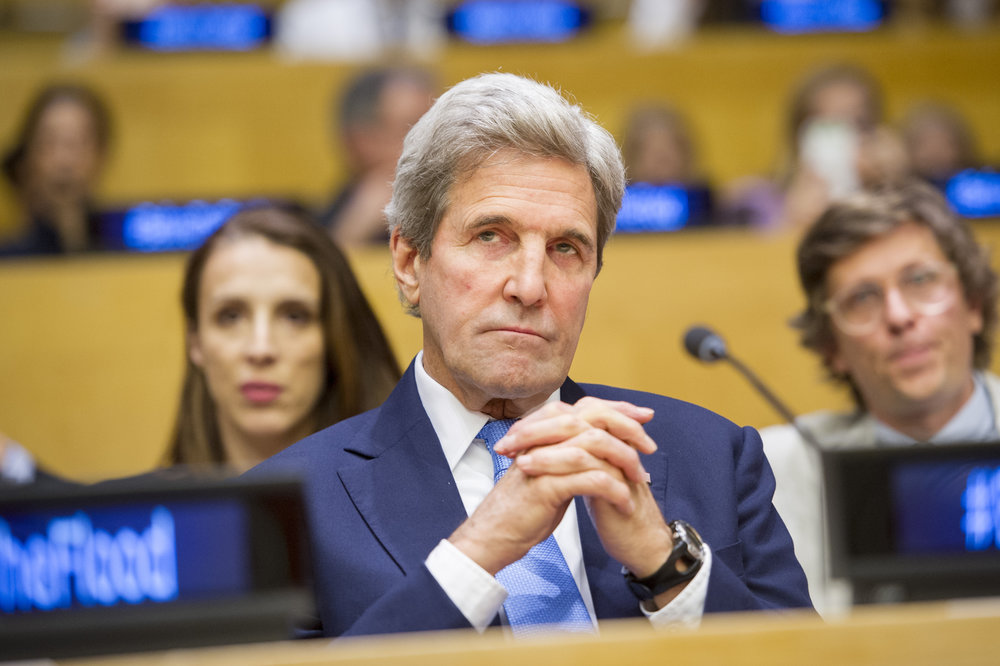 "U.S. Secretary of State John Kerry attends the screening of the documentary film ""Before the Flood"" at the United Nations Oct. 20, 2016. Credit: UN Photo/Rick Bajornas."