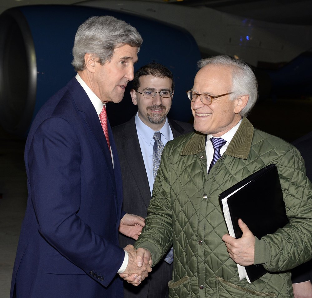 U.S. Special Envoy for Israeli-Palestinian Negotiations Martin Indyk (right) shakes hands with U.S. Secretary of State John Kerry at Israel's Ben Gurion International Airport Jan. 5, 2014. Credit: Matty Stern/U.S. Embassy Tel Aviv/Flash90.
