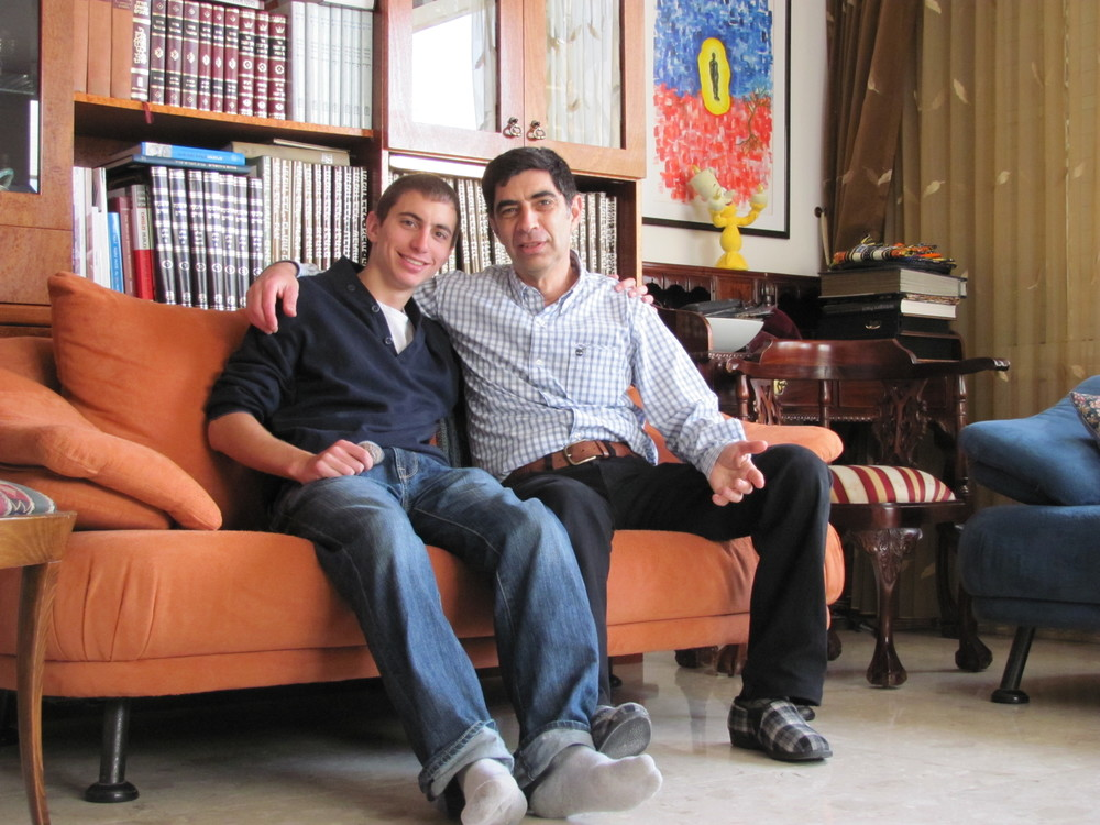 The late Lt. Hadar Goldin (left) with his father, Simcha. Goldin was killed in Gaza during Operation Protective Edge in 2014, and his body remains with the Hamas terror group. Credit: Courtesy Goldin family.