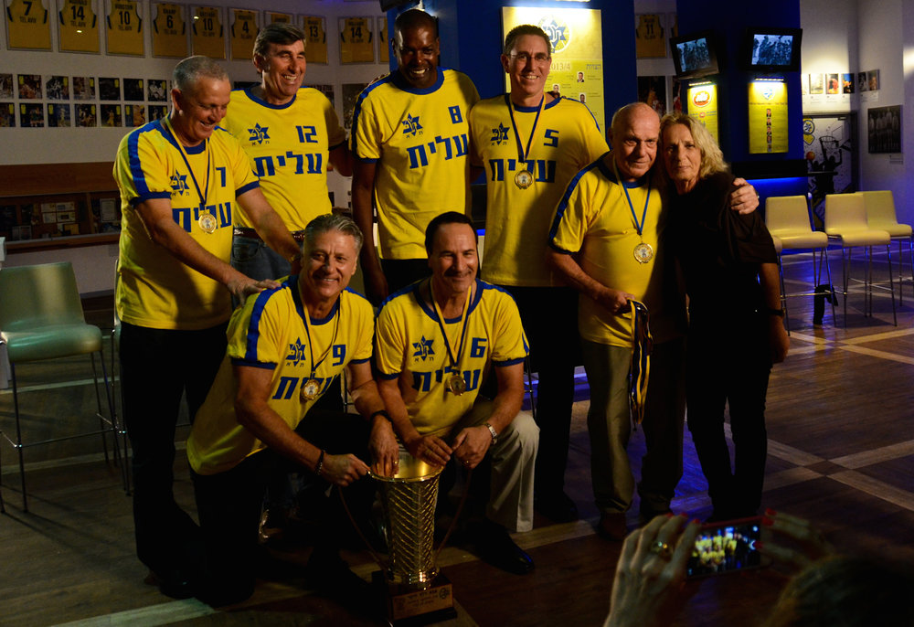 Members of the Maccabi Tel Aviv basketball team that scored the historic upset over CSKA Moscow in 1977. Credit: On The Map.