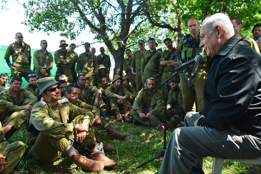 Israeli Prime Minister Benjamin Netanyahu meets with Israeli soldiers in the northern Golan Heights region during a security and defense tour April 11, 2016. Will the U.S. recognize Israeli sovereignty over the Golan Heights in 2017? Credit: Kobi Gideon/GPO.