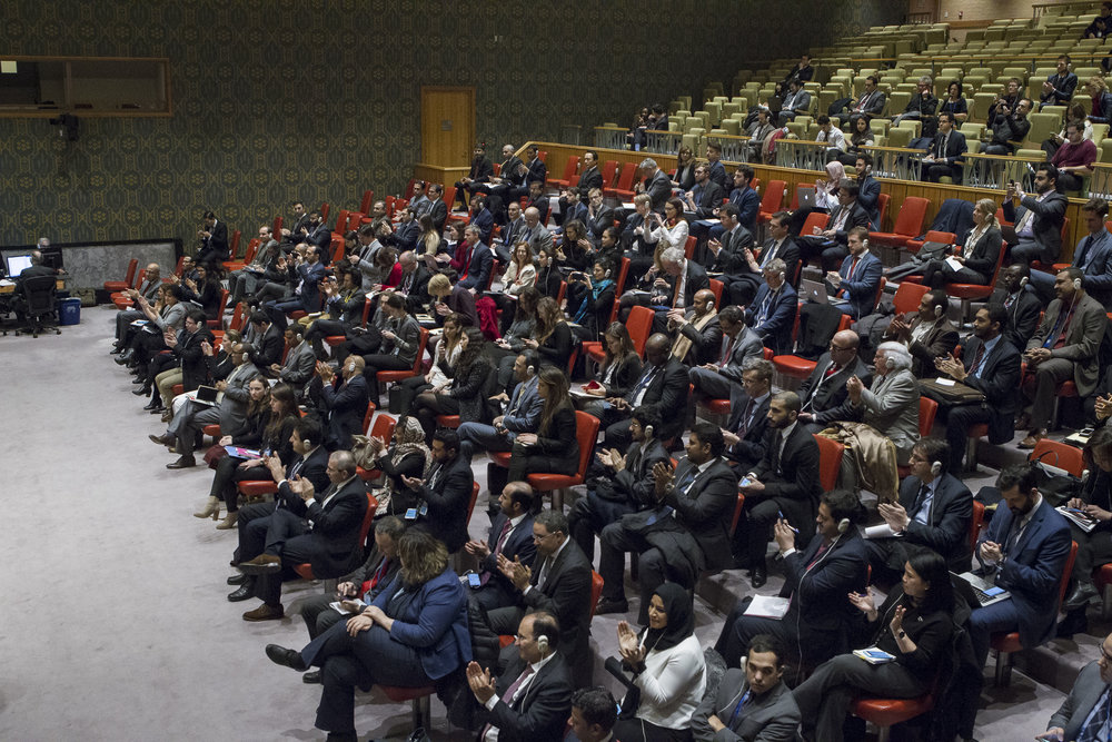 The audience reacting to the United Nations Security Council's Dec. 23 vote on a resolution condemning Israeli settlements. Credit: UN Photo/Manuel Elias.