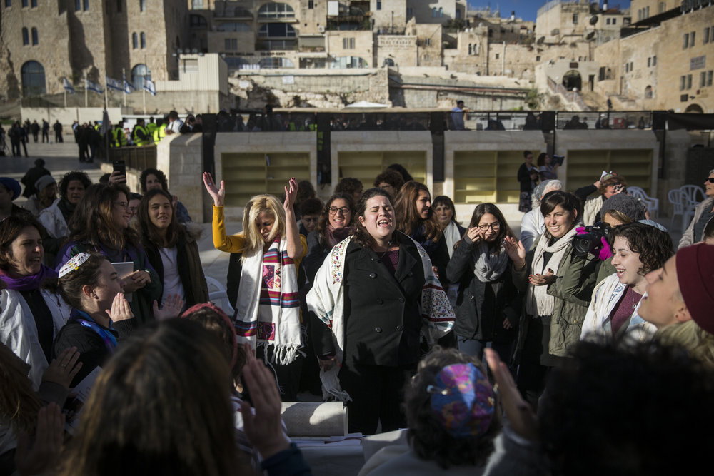 A Women of the Wall prayer service at the Western Wall in Jerusalem Dec. 1, 2016. Credit: Hadas Parush/Flash90.