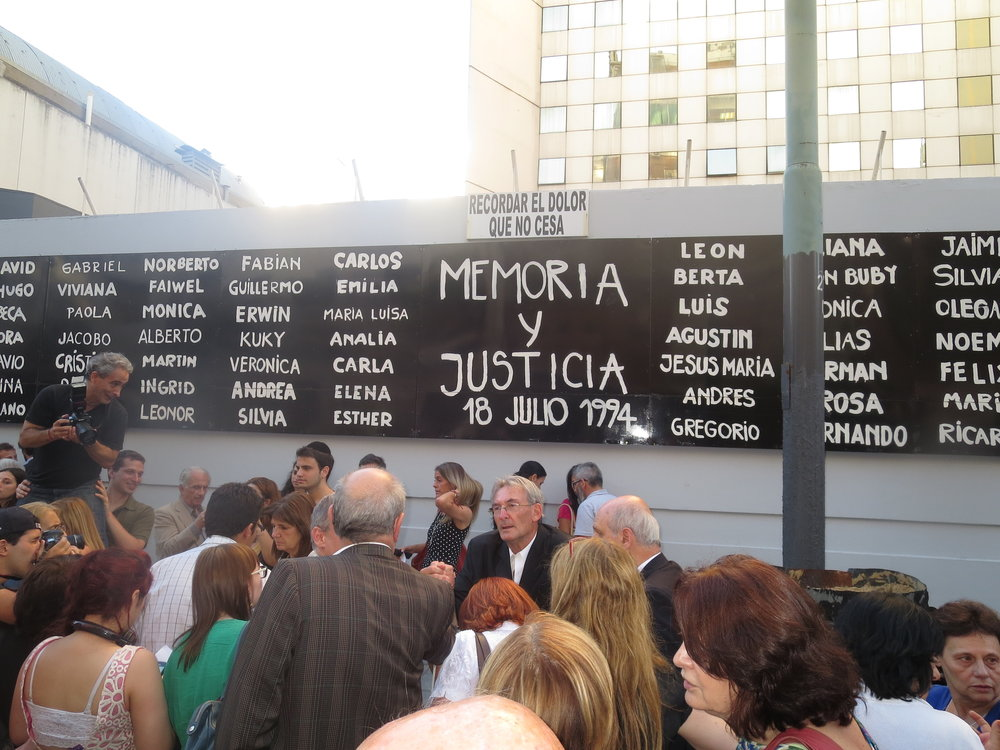 In July 2015 in Buenos Aires, a memorial for the victims of the 1994 AMIA Jewish center bombing. Credit: Jaluj via Wikimedia Commons.