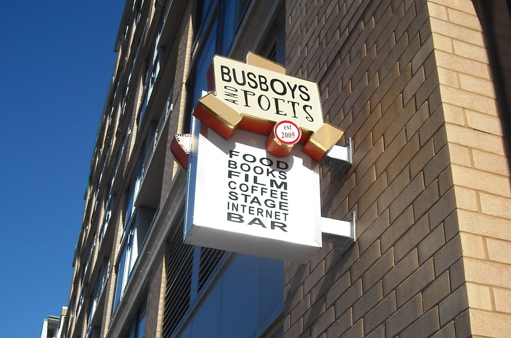 The entrance sign to the Busboys and Poets restaurant. Credit: Wikimedia Commons.