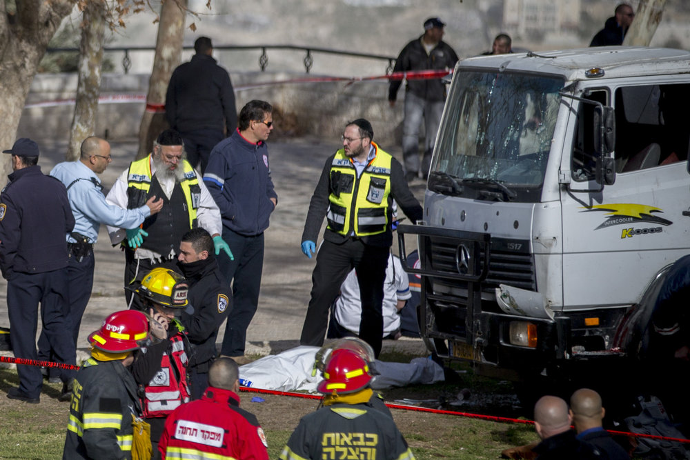 The scene of Sunday's truck-ramming terror attack in Jerusalem. Credit: Yonatan Sindel/Flash90.