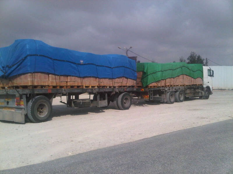 Cargo enters Gaza from Israel through the Kerem Shalom crossing. Credit: Israel Defense Forces.
