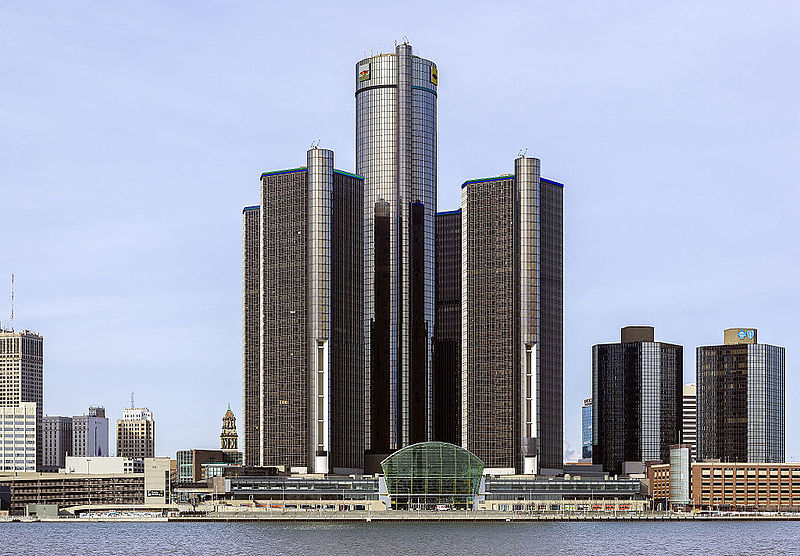 The Renaissance Center in Detroit, Michigan. The state became the latest to adopt anti-BDS legislation. Credit: Wikimedia Commons.