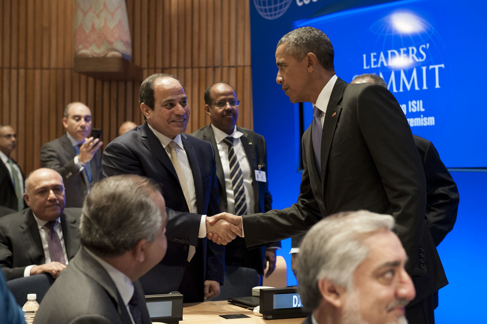 Egyptian President Abdel Fattah El-Sisi and U.S. President Barack Obama shake hands at the United Nations-hosted Leaders' Summit on Countering Violent Extremism Sept. 29, 2015. Credit: UN Photo/Kim Haughton.