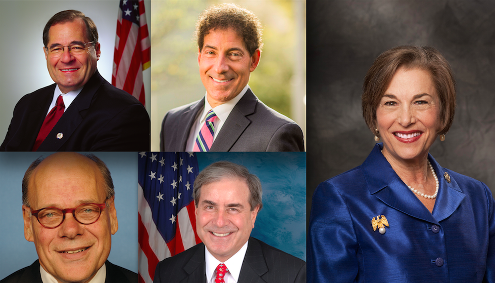 The Jewish lawmakers boycotting President-elect Donald Trump's inauguration include U.S. Jerold Nadler (left), Steven Cohen (bottom left), Jamie Raskin (top center), John Yarmuth (bottom center) and Jan Schakowsky (right). Credit: U.S. Congress.